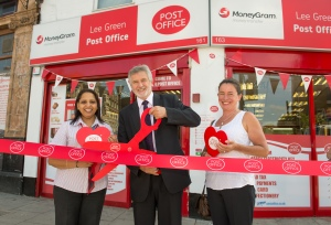 Clive opens the new-look Post Office with branch manager Mrs Nilam Rajoriya and local Councillor Clare Morris